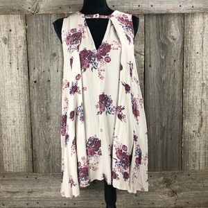 Free People Boho Pleated Floral tunic Dress Small